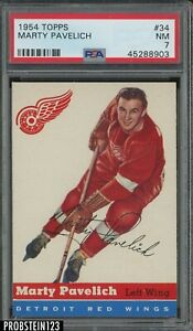 1954 Topps Hockey #34 Marty Pavelich Detroit Red Wings PSA 7 NM