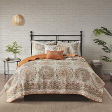 Beautiful Modern Orange Beige Boho Cabin Tropical Southwest Bohemian Quilt Set ~