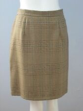 JACOB Size 13 Brown 100% Wool Fully-Lined Checks Skirt (Made in Canada)