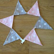 BUNTING CURTAIN NURSERY GIRLS TIE-BACKS ~ grey/silver & baby pink shooting stars