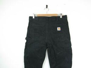"Mens Carhartt Black Cotton Straight Leg Workwear Carpenters Trousers | 34""x36"""