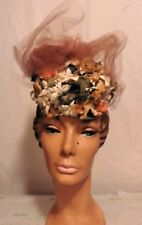 Crazy TILT HAT W/ FAUX FLOWERS AND TULLE by LUCI PUCI