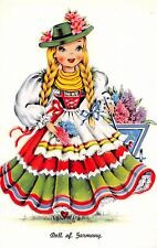 costume postcard Doll of Germany pretty German girl