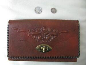 Antique Art Nouveau Deco Floral Hand Tooled Leather Clutch Wallet Purse JUSTIN