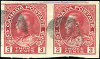 Used Canada 1924 Pair 3c Coil F-VF Imperforate Scott #138 KGV Admiral Stamps