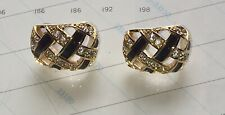 Signed Swan Mark For Swarovski Crystal Pierced Earrings, Vintage