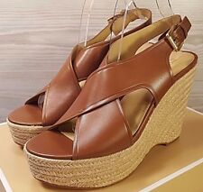 c0c25a81610 Michael Kors Angeline Brown Luggage Leather Espadrilles Wedges Sandals Sz  10 NWB