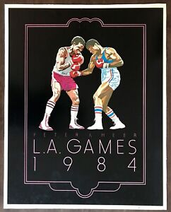 VINTAGE SPORTS ATHLETE OLYMPICS BOXING ART PRINT BY PETER HEER LOS ANGELES 1984