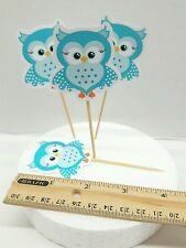 """2"""" Cute Baby Shower Owl BLUE cupcakes toppers CUT- 20pcs"""