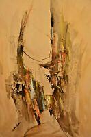 ELIZA BONHAM CARTER Mixed Media Modern Abstract Composition Gouache Oil Painting