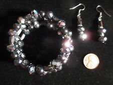Wire Bracelet & Earrings Set New Hematite Colored Glass Magnetic Black Memory