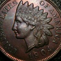 OLD US COINS 1904 INDIAN HEAD CENT PENNY RB UNC FULL LIBERTY BEAUTY