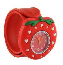 Quality Strawberry Girls Boys Kids Wrist Watch Flower Easy Strap Red Slap QTY