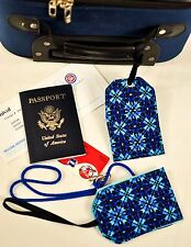 """hand crafted fabric luggage tags set of 2 secure info 3.5"""" X 5.5"""" blue brand new"""