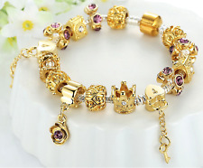 Luxury Gold Charms Bracelet Flowers CZ Beads Women Jewellery 20cm Birthday gift