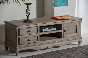 TV Cabinet Stand Plasma Bench Unit Solid Bordeaux Shabby Chic in Mango