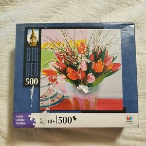 Milton Bradley Big Ben 500 Piece Jigsaw Puzzle Bouquet of Tulips in Bloom