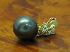 14kt 585 Oro Giallo Ciondolo con Brillante & Tahiti-Perlen Carico & Clipfunktion