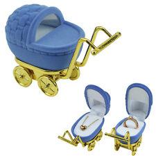Blue Trolley Shape Velvet Ring Box Earring Pendant Locket Necklace Jewelry Case