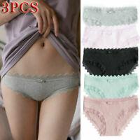 3pcs Women Cotton Underwear Lace Bowknot Briefs Sexy Lingerie Causal Panties FA