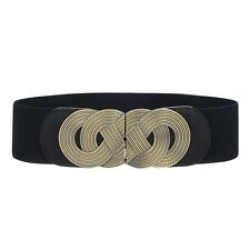 Fashion Lady Stretch Buckle Waist Belt Bow Wide Leather Elastic Corset Waistband
