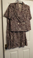 Tailor made apx size 16 18 vintage style brown cream paisley jacket skirt suit