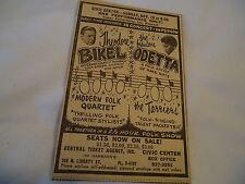 Theodore Bikel & Odetta - concert Civic Center BALTIMORE MD  - 1963 newsprint ad