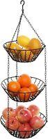 3 Tier Kitchen Ceiling Hanging Black Metal Fruit Basket Rack/Produce Holder