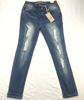 NWT Wallflower Lengendary Fit Ankle Womens 7 Distressed Blue Stretch Denim Jeans