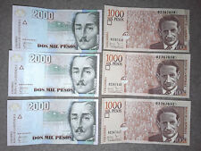 COLOMBIA: 3 x 1000 Pesos & 3 x 2000 Pesos consecutive in AUNC Condition. COP