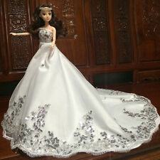 Sequins Wedding Evening Party Dress Long Trailing Gown Clothes Barbie Doll White