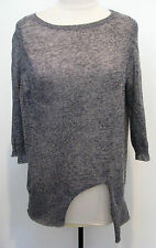 A.L.C 2012 Mixed Gray Asymmetric 100% Wool Knit Top 3/4 Sleeves Size L