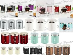Set of 3 Stainless Steel Tea Coffee Sugar Kitchen Storage Canisters Jars Pots