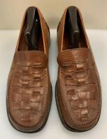 Cole Haan Men 10 M Woven Slip On Loafers Brown Leather Made Crafted in Italy