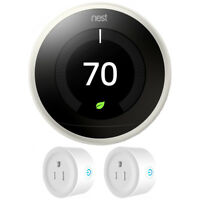 Google Nest Learning Thermostat 3rd Generation (White) w/ 2 Pack Wi-Fi Smart Plu
