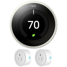 Nest Learning Thermostat 3rd Generation (White) w/ 2 Pack Wi-Fi Smart Plug