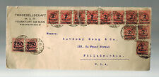 1923 Frankfurt  Germany Inflation Cover Tongesellschaft to USA