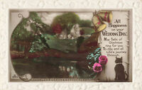 """Vintage Heavily Embossed Event Postcard """"Happiness on Wedding Day"""" Unposted."""