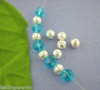 100Stk.Versilbert Filigran Spacer Perlen Beads 8mm D.