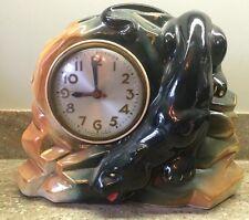 Vintage Antique Ceramic Panther Clock. Works!