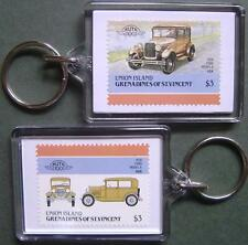 1928 FORD Model A Car Stamp Keyring (Auto 100 Automobile)