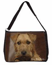 Lakeland Terrier Dog 'Love You Mum' Large Black Laptop Shoulder Bag, AD-LT2lymSB