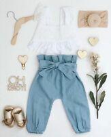 Toddler Kid Baby Girl Ruffle Sling Tops Long Pants 2PCS Outfit Clothes Summer US
