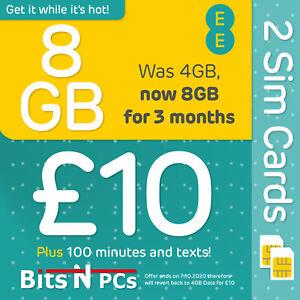 2 X EE - ORANGE £10 Everything Pack SIM - Includes Standard, Micro & Nano SIM