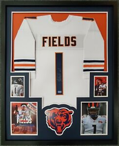 FRAMED CHICAGO BEARS JUSTIN FIELDS AUTOGRAPHED SIGNED JERSEY BECKETT HOLO