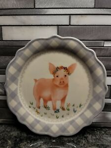 """THE PIONEER WOMAN GINGHAM  STONEWARE APPETIZER 7"""" PLATE GRAY PIG"""