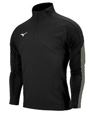 Mizuno Men Knit Half-Zip Jacket L/S Jersey Black Tee Top Casual Shirt P2MC0K0609