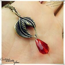 Antique Style Leaf Ruby Pendant Vintage Gold Chain Necklace / Lead Free