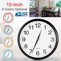 Modern 10 Inch Round Wall Clock Silent Quartz Non-ticking Battery Home Hanging