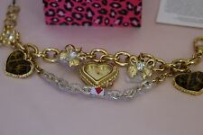 Betsey Johnson Gold Tone Leopard Heart Charm Watch Bracelet